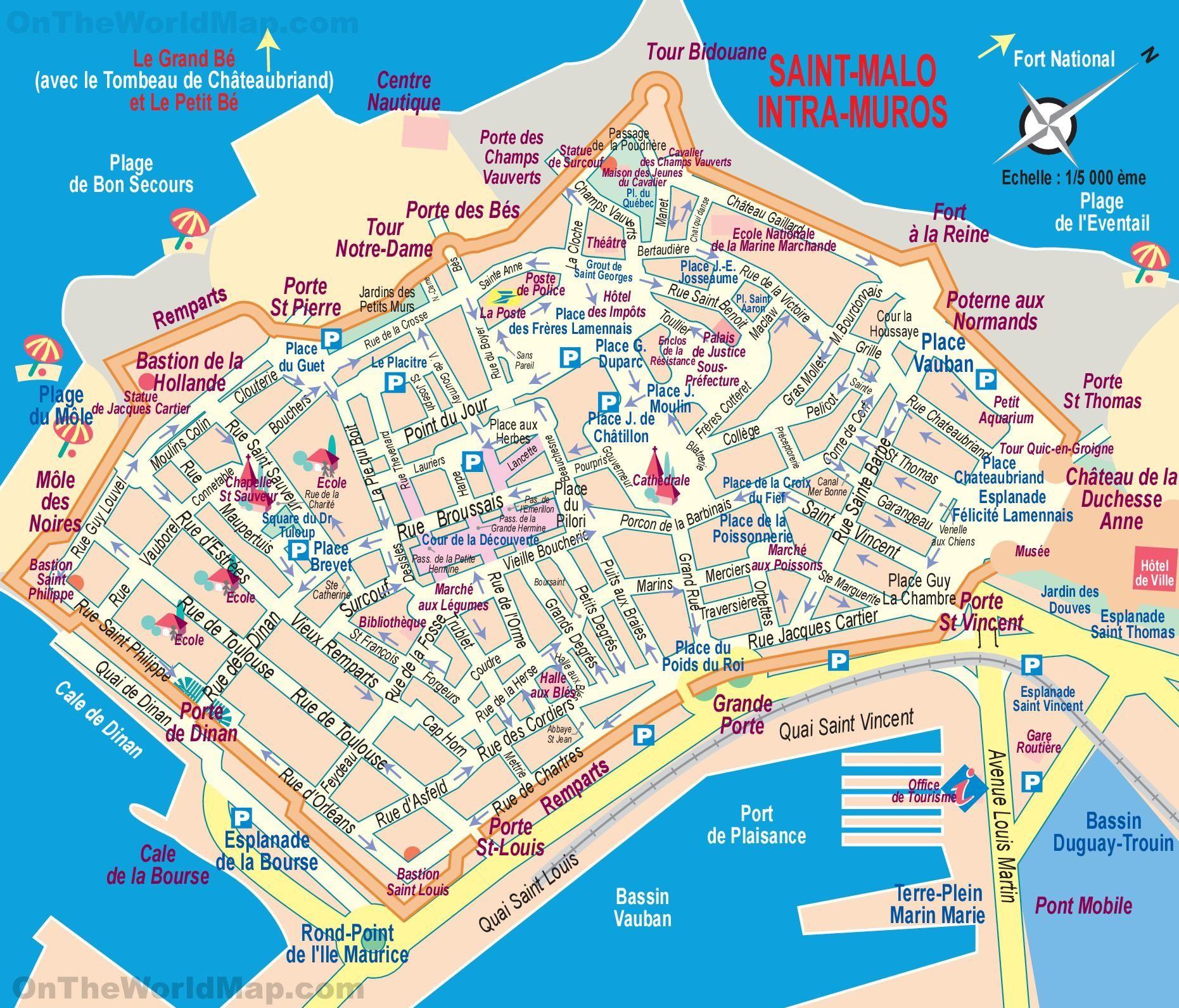 SaintMalo tourist map Lets travel Pinterest Tourist map