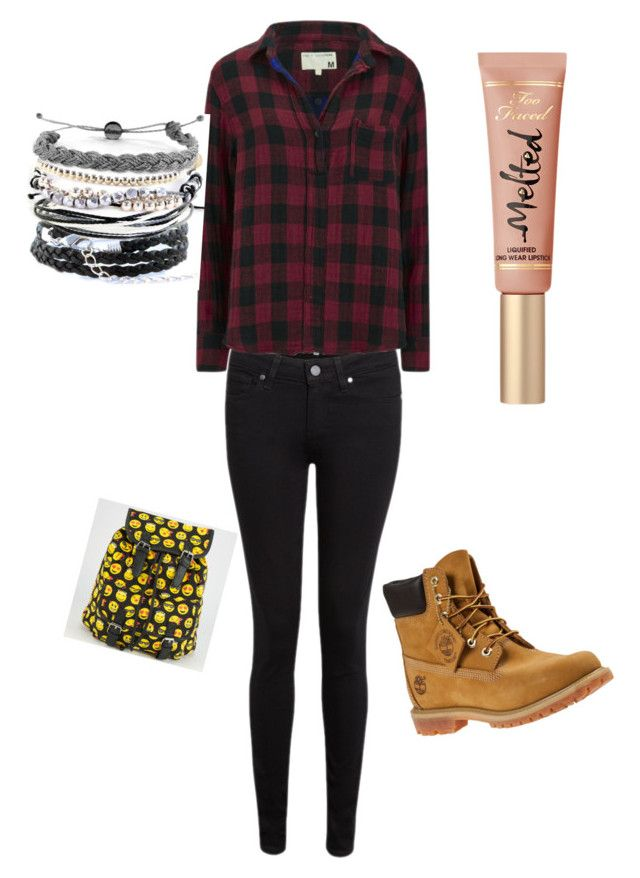 """School"" by margot-52 ❤ liked on Polyvore featuring Paige Denim, rag & bone, Timberland, Absolutely and Domo Beads"