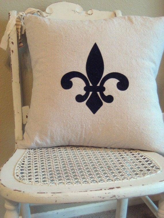 Fleur De Lis French Inspired Pillow Cover