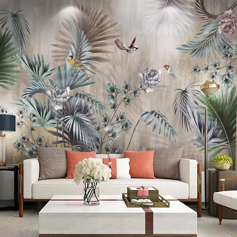 3D Nordic Flower Decorative Pattern Wallpaper Mural,Hand Painting Wall Mural Decal Printed Photo Abstract Wall Paper Art Wall Decor Murals