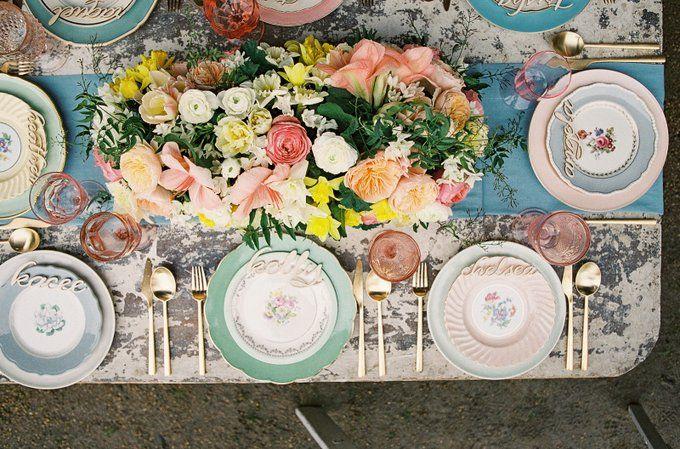 Bridesmaid Picnic, Bohemian Inspiration, Picnic In The Park, Botanical China,  Gold Flatware · Mismatched Table SettingSetting ...
