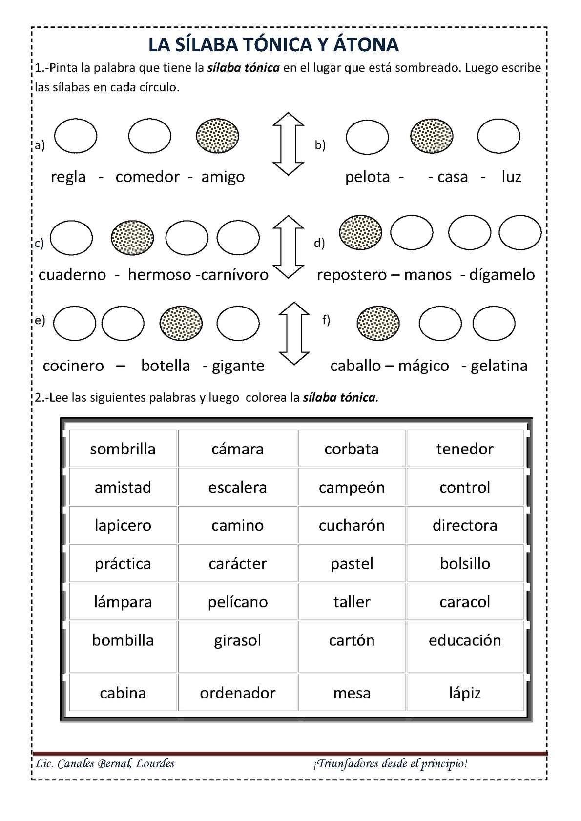 Clases De Sílabas Tónicas Y átonas Silabas Tonicas Y Atonas Clases De Silabas Silabas Tonica