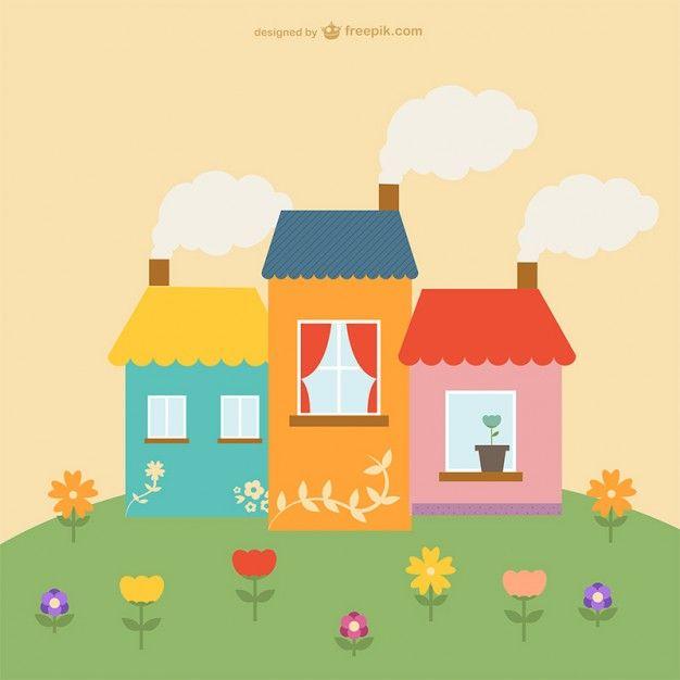Descarga Gratis Casas Y Flores Bonitas Com Imagens Casa De Desenhos Animados Vetores Free Desenhos