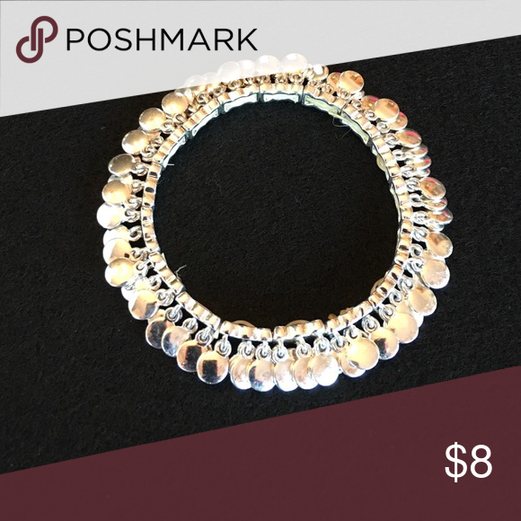 Super shiny silver tone stretch bracelet  No tarnish, never worn! Bought on Poshmark & love it but it is big for my wrist. It is medium size. Perfect condition! Bundle! Jewelry Bracelets