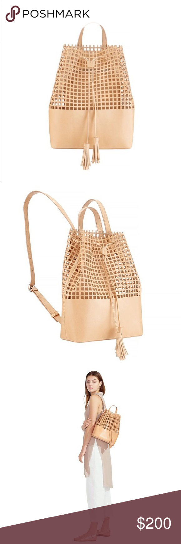 """Loeffler Randall Tassel Backpack Perforated leather backpack in light cuoio with tassel drawstring. natural square perforated leather with tassel drawstring L 9.5"""" X D 4"""" X H 12.5"""". Vachetta Leather. Gently used with slight water marks (see last picture). Loeffler Randall Bags Backpacks"""