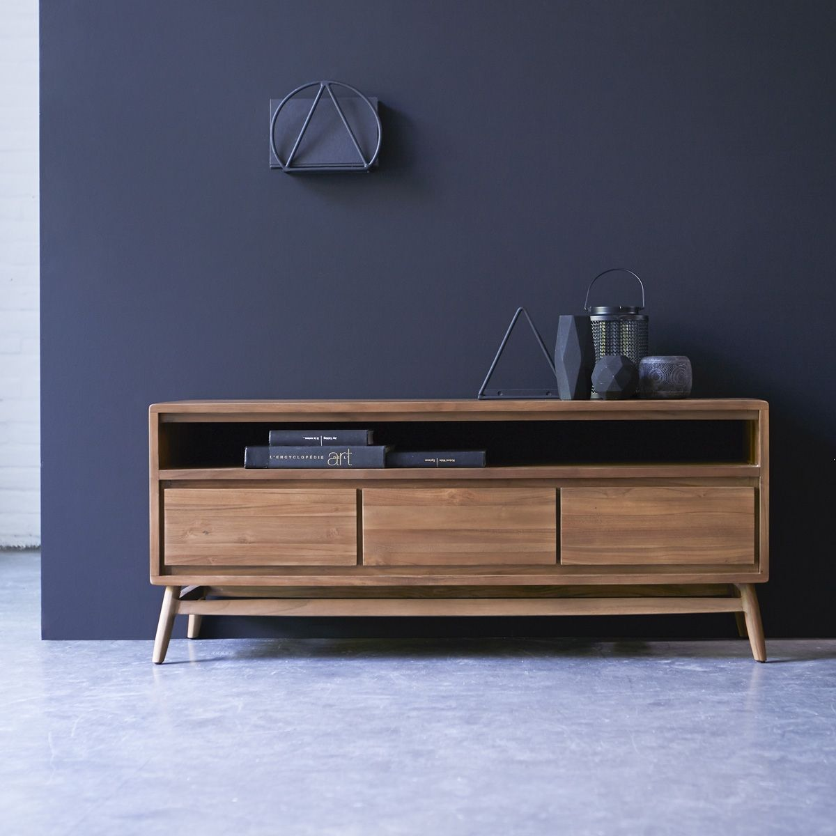 meuble tv en teck 128 twist - Meuble Tv Living
