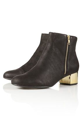 Adorn Gold Block Heel Boot - TopShop | STYLES ✖ Shoes | Pinterest ...