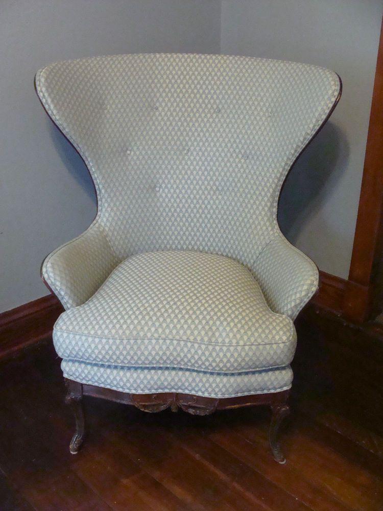 Antique Vintage Danish Design Original Wing Back Egg Chair
