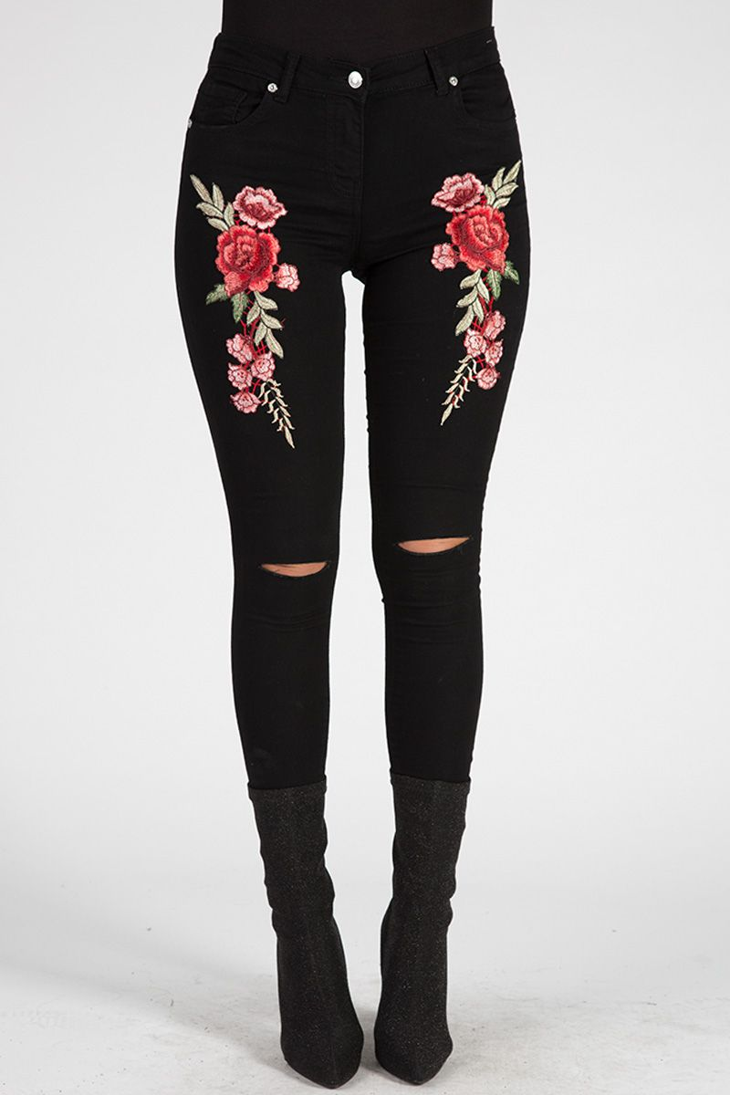 5909eb9635 Black Floral Embroidered Ripped Skinny Jeans - Ariel