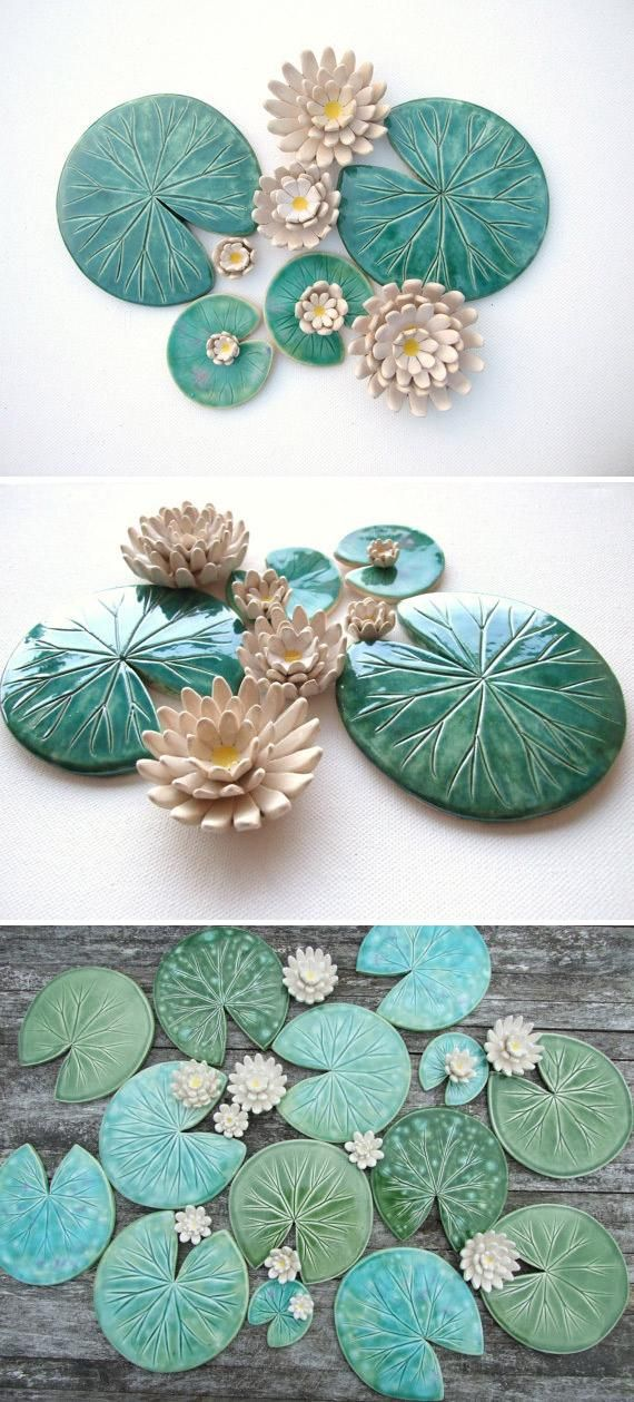 Set of Lily pad coasters and lily flowers ceramic green leaf