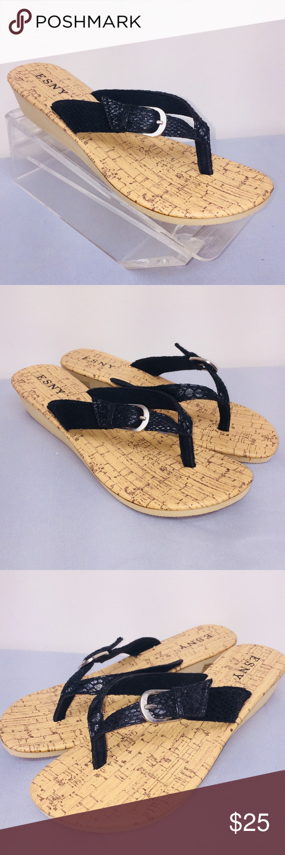 fe803b0b8d772 ESNY sandals wedge thongs NEW black Sz 10