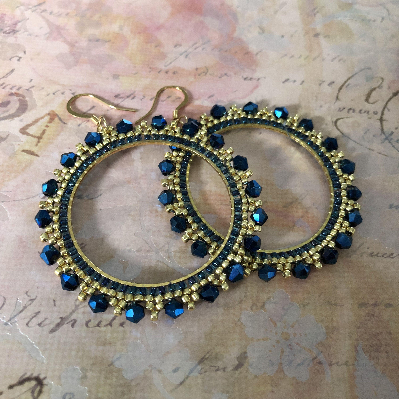 Photo of Large Royal Blue and Gold Crystal Seed Bead Hoop Earrings Beaded Jewelry Crystal Earrings