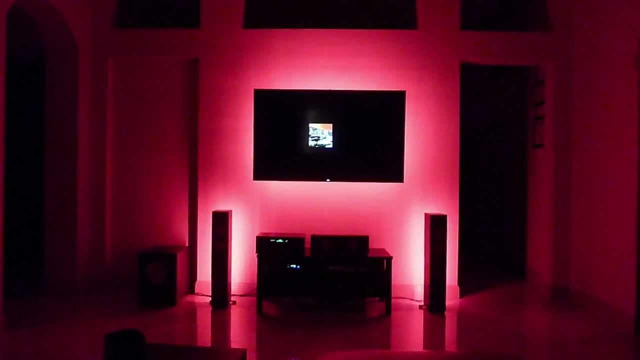 Led Lighting Behind Tvs Speakers And Under Cabinets Via Youtube Lights Behind Tv Led Lighting Bedroom Led Lights