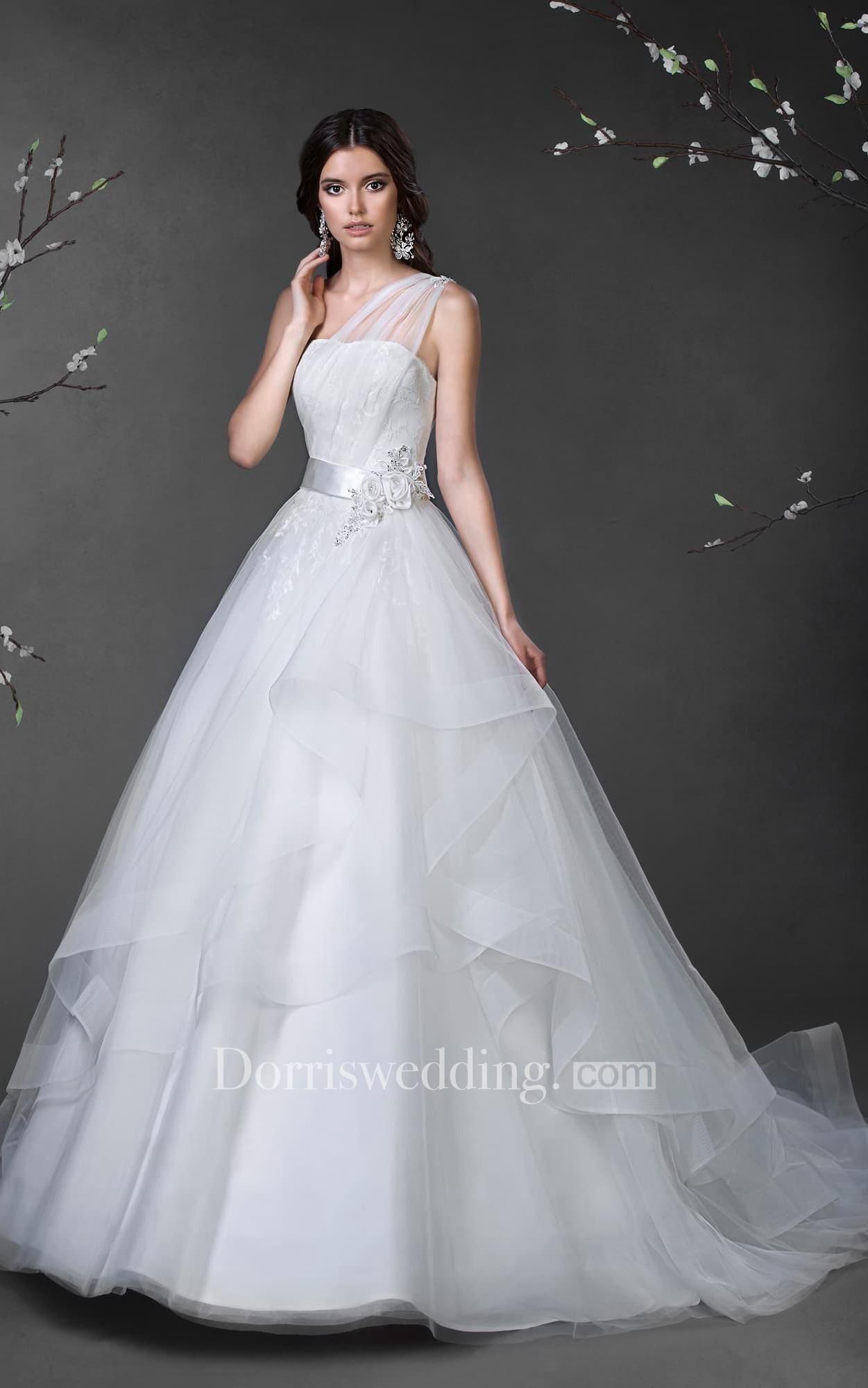 Concise elegant strapless sleeveless white satin&tulle