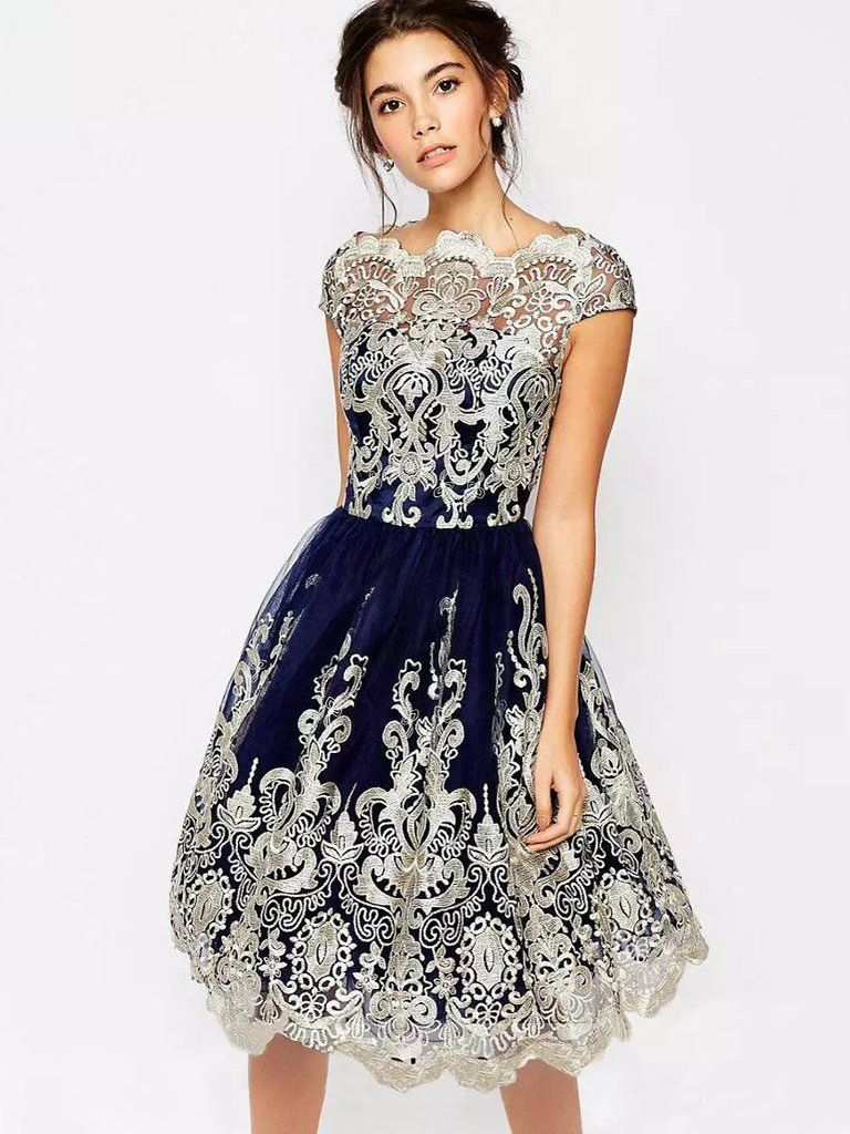 Cute homecoming dress dark navy appliques short prom dress party