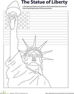 Color the Statue of Liberty Worksheets Symbols and Liberty