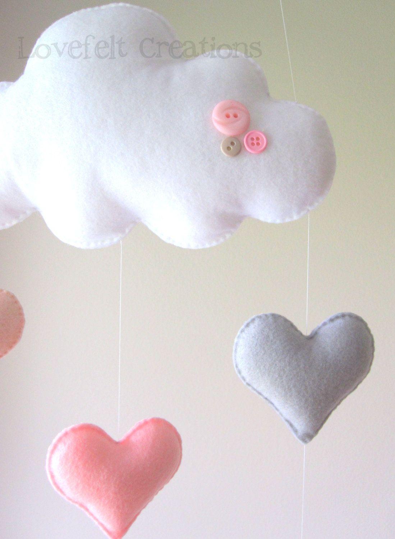 Mobile Bébé À Suspendre Au Plafond mobile bébé - coeur mobile - mobile nuage - rose et gris