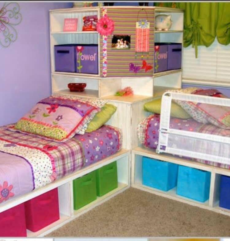 Corner Twin Beds In 2020 Corner Twin Beds Twin Storage Bed Kids Bedroom