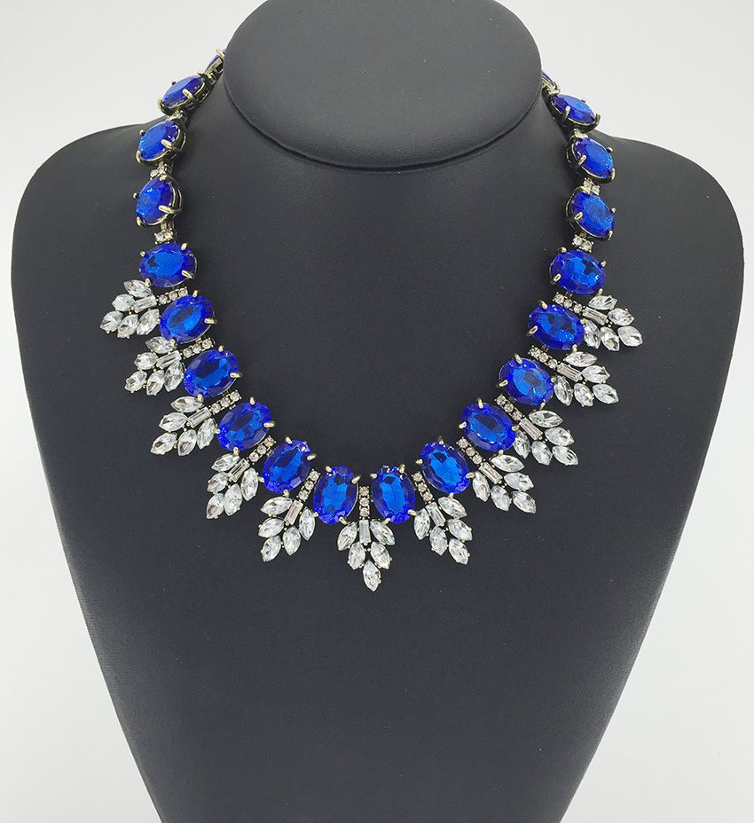 New Blue Rhinestone Statement Necklace Luxury Women Bijoux ...