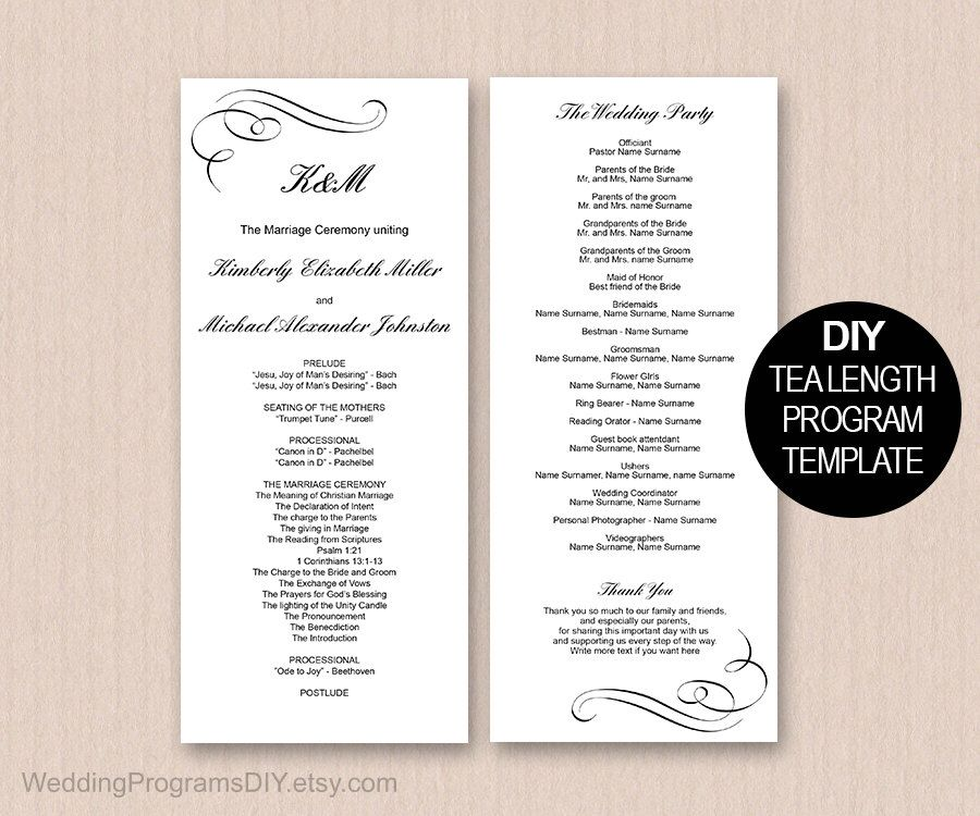 simple wedding program download instantly diy wedding program templates edit the text and print at home black and whitedelicate swirls