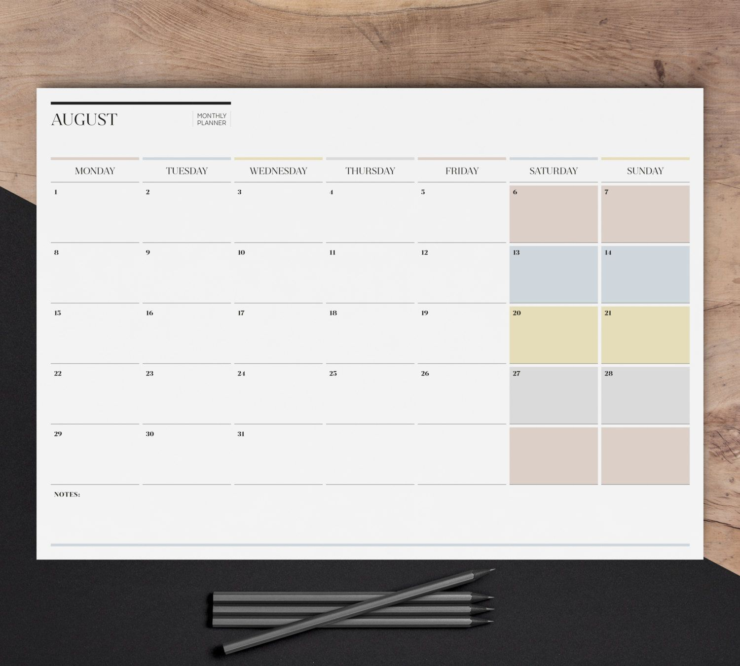 Desk Calendar Planner : Sale a monthly wall planner printable large by