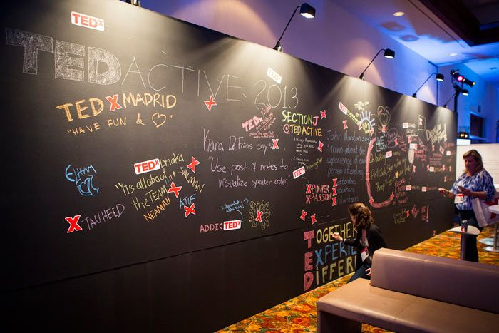 TEDx planners from around the world expressed themselves on an interactive chalkboard wall.