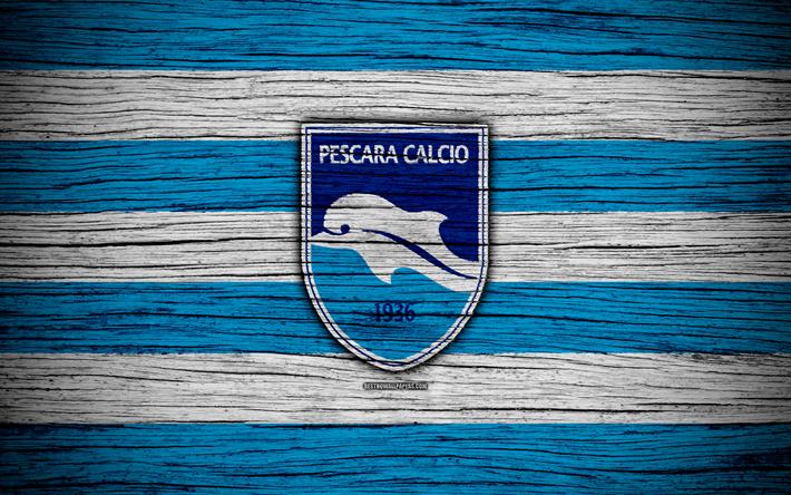 Lataa kuva Delfino Pescara 1936, Serie B, 4k, jalkapallo, puinen rakenne, valkoinen sininen viiva, italian football club, Dolphin FC, logo, tunnus, Pescara, Italia