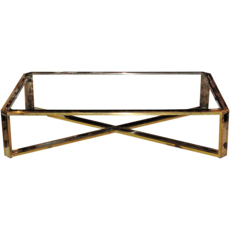 1stdibs | Vintage Brass, Chrome And Glass Extra Large Coffee Table