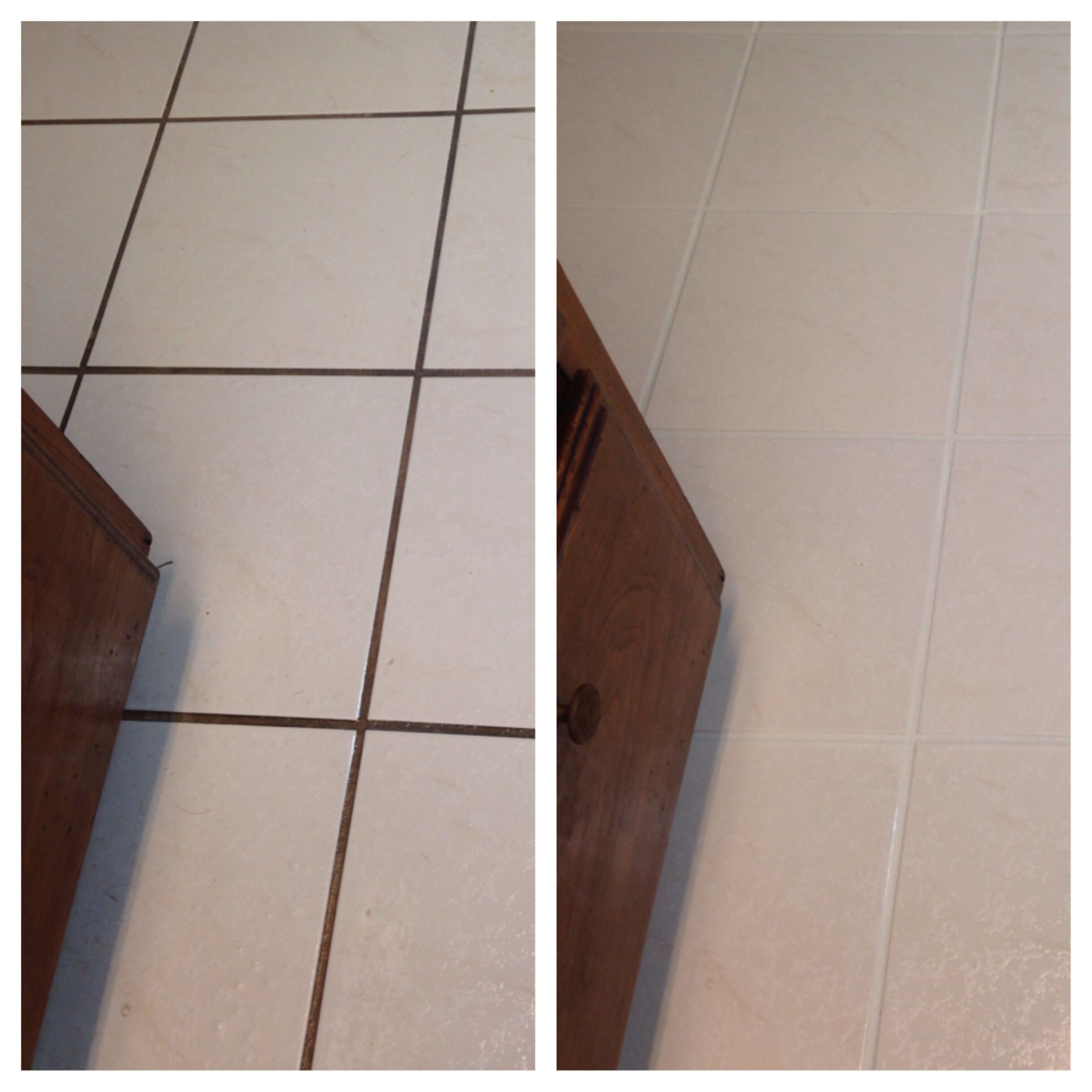 Grout Before And After Using Resolve Carpet Cleaning Spray And Then - Clean grout before sealing