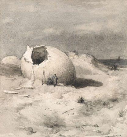"""The Roc's Egg (Marco Polo),"" Robert Swain Gifford, 1897, watercolor and gouache, 12-3/4 x 11-3/4"", Heckscher Museum of Art."