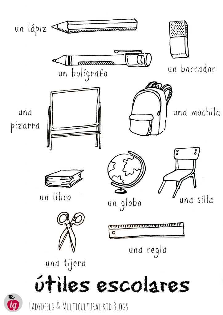 school supplies utiles escolares – Free Spanish Worksheets for Kids