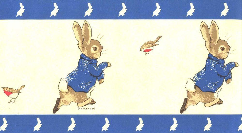 Details about beatrix potter themed wallpaper border red - Peter rabbit nursery border ...