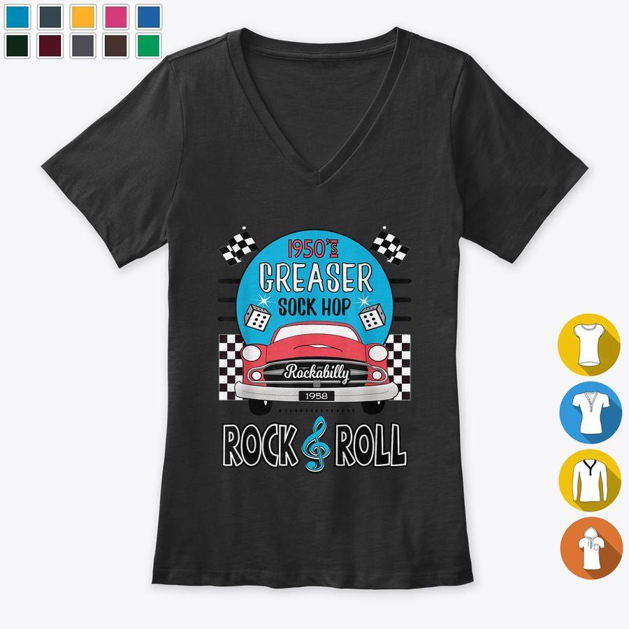 50s Sock Hop Dance Rock N Roll  Rockabilly Classic Car T Shirts, Hoodies & Sweat…