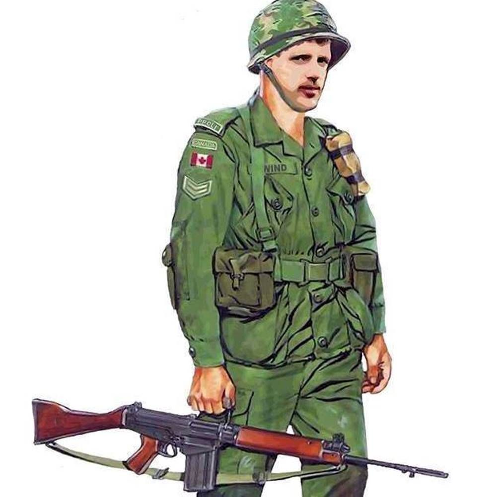 CAF CDN COMBAT UNIFORM 1967-96 CPL WITH FN RIFLE | Historical