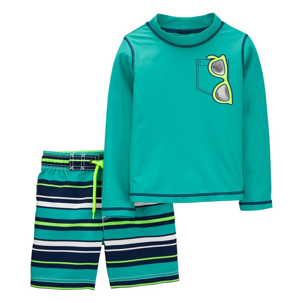 Carters Boys Rash Guard /& Swim Shorts Set Snorkeling Shark