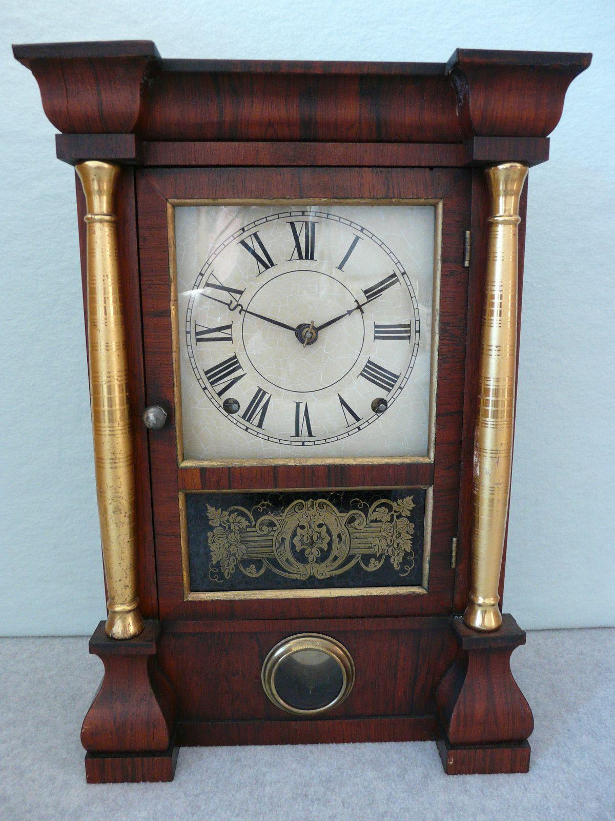 Old 1800s Antique Seth Thomas 8 Day Column Mantle Shelf Clock Lyre