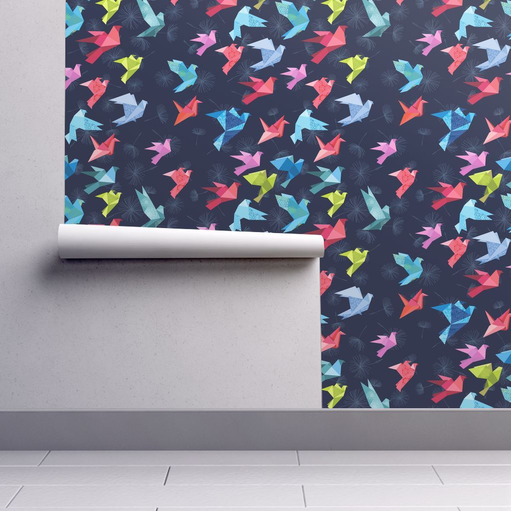 Photo of Colorful fabrics digitally printed by Spoonflower – Small Scale Origami Birds