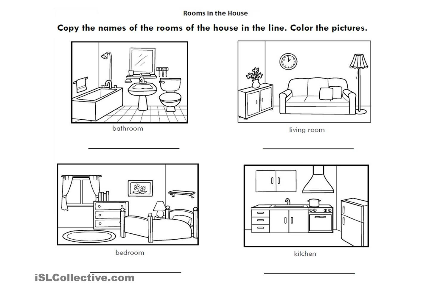 Printable Worksheets Home : Rooms of the house parts a and worksheetts