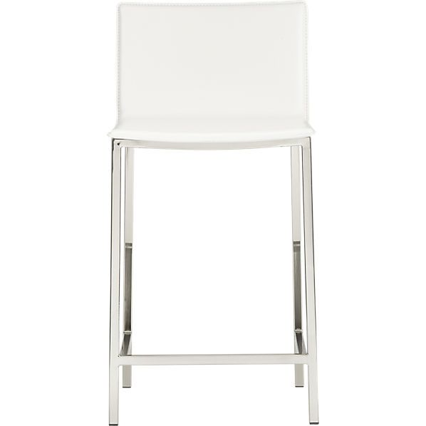 19 Deep 24 High 139 Steel With Satin Nickel Finish Leather Composite Made In Taiwan Phoenix Ivory 2 Counter Stools Modern Bar Stools 24 Counter Stools