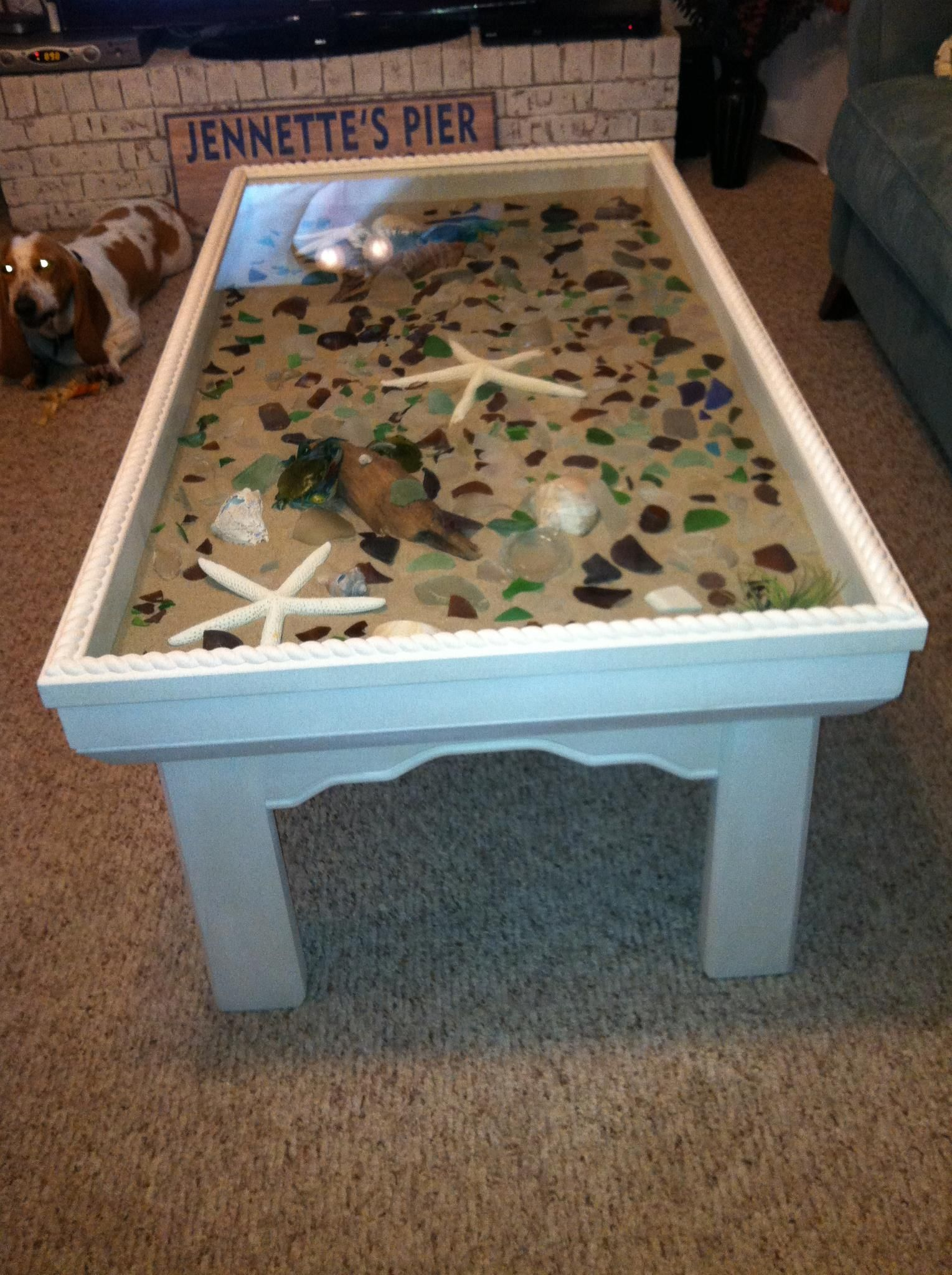 Places To Coffee Tables Sand Star Fish Sea Shells Drift Wood And Sea Glass Coffee Table