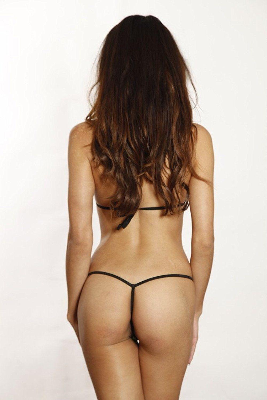 68b8d27441c Solid Mesh See Through Micro G String Bikini at Amazon Women's Clothing  store: