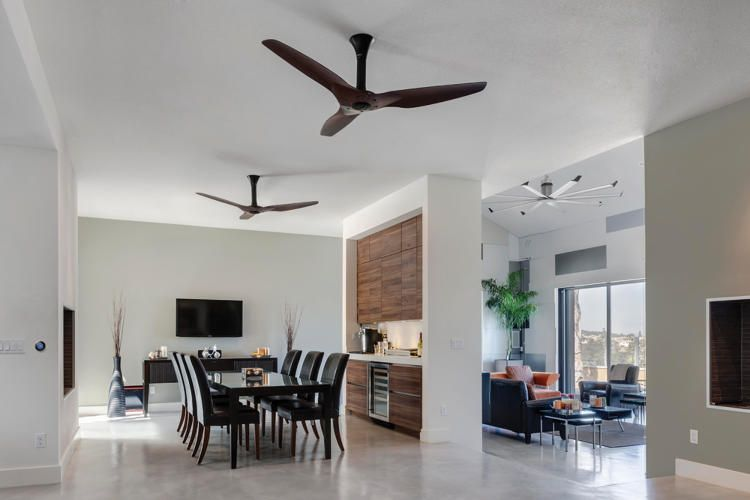 This Smart Ceiling Fan Links With Nest To Make Your Ac More Cool While Using Less Energy Living Room Ceiling Fan Living Room Ceiling Living Room Lighting Design