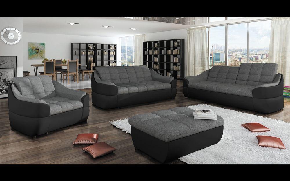 Couchgarnitur INFINITY 3 Er + 2 Er + 1 Er + Hocker, Sofa Couch Polsterecke