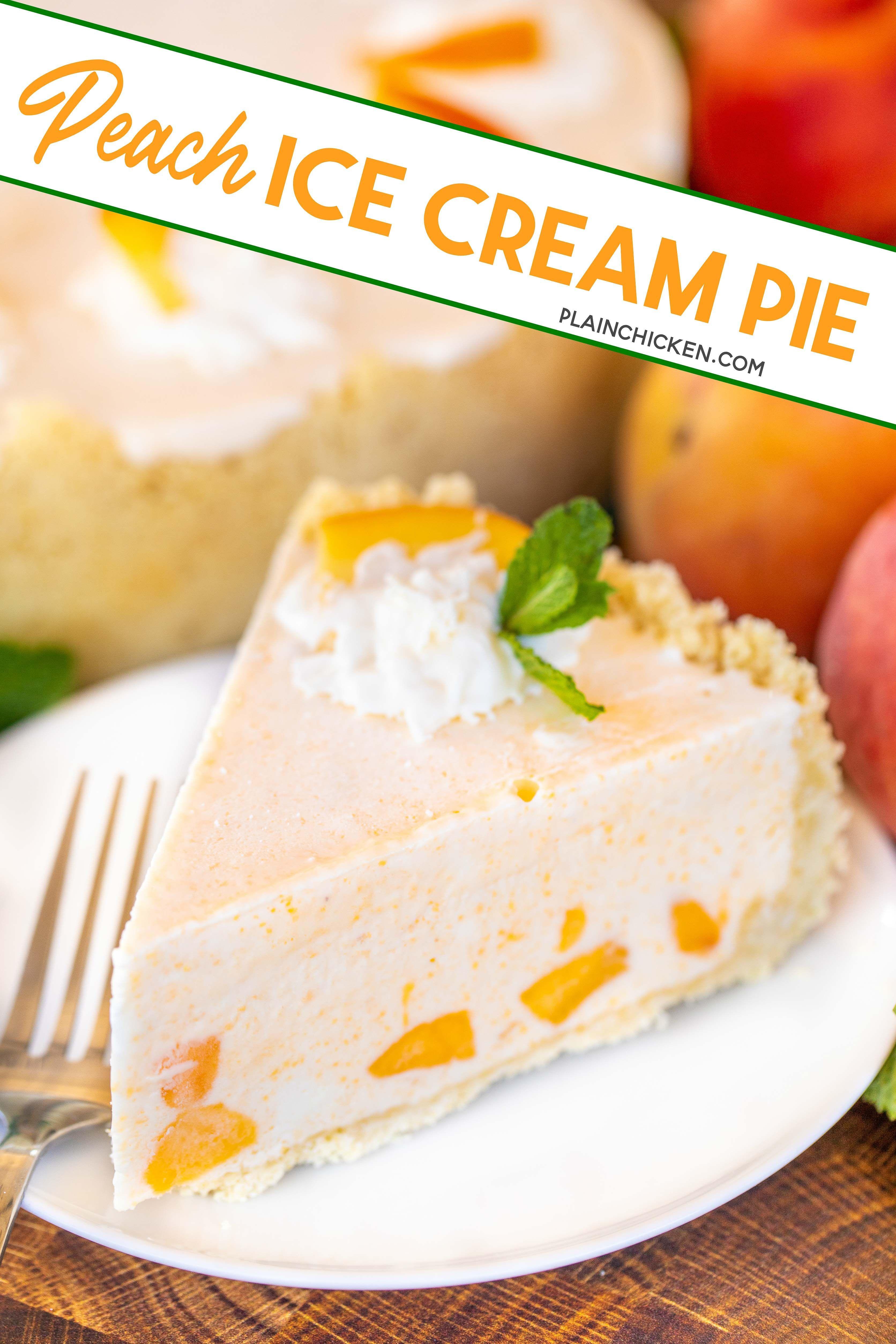Peach Ice Cream Pie In 2020 Homemade Peach Ice Cream Ice Cream Pies Cream Pie Recipes