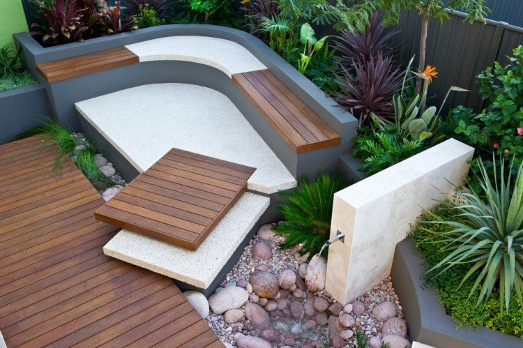 Gartengestaltung Mit Beton eck sitzbank aus beton und holz bauen und springbrunnen daneben