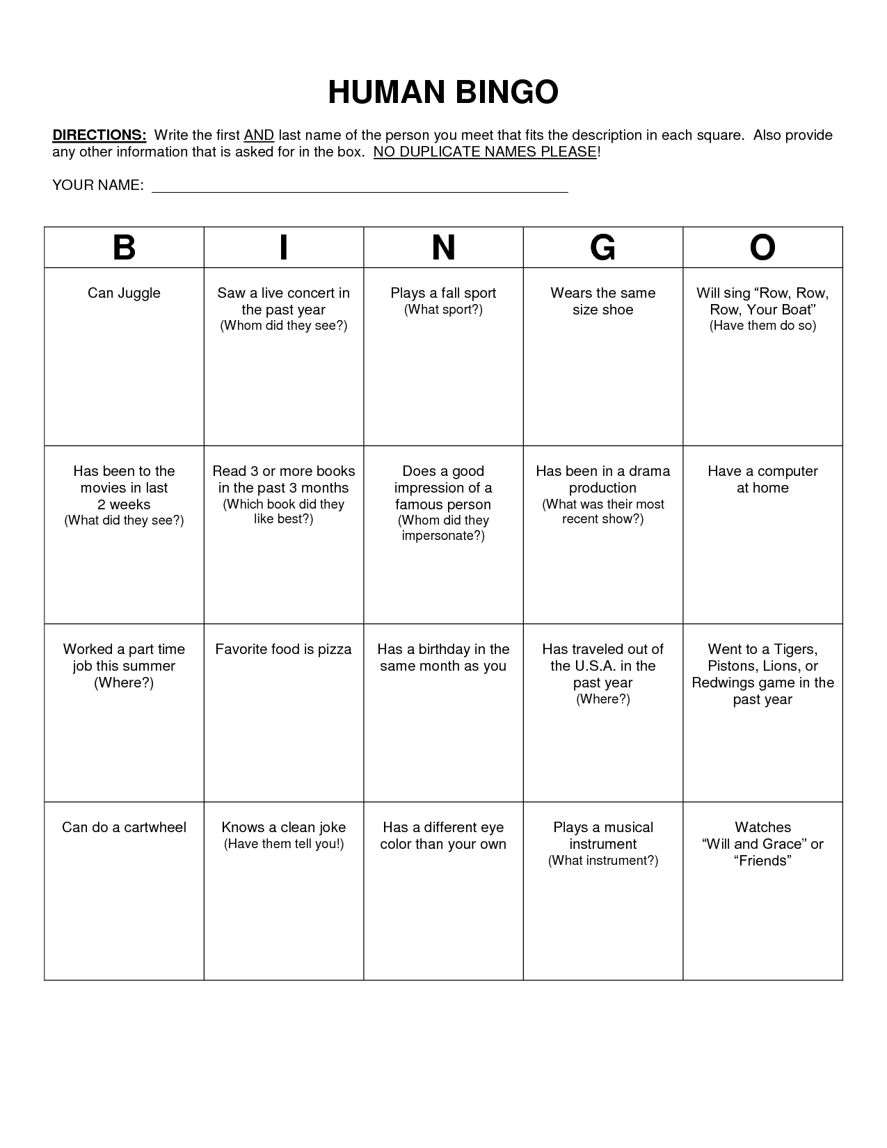 Human Bingo Scavenger Hunt Template | Retreat ideas | Pinterest