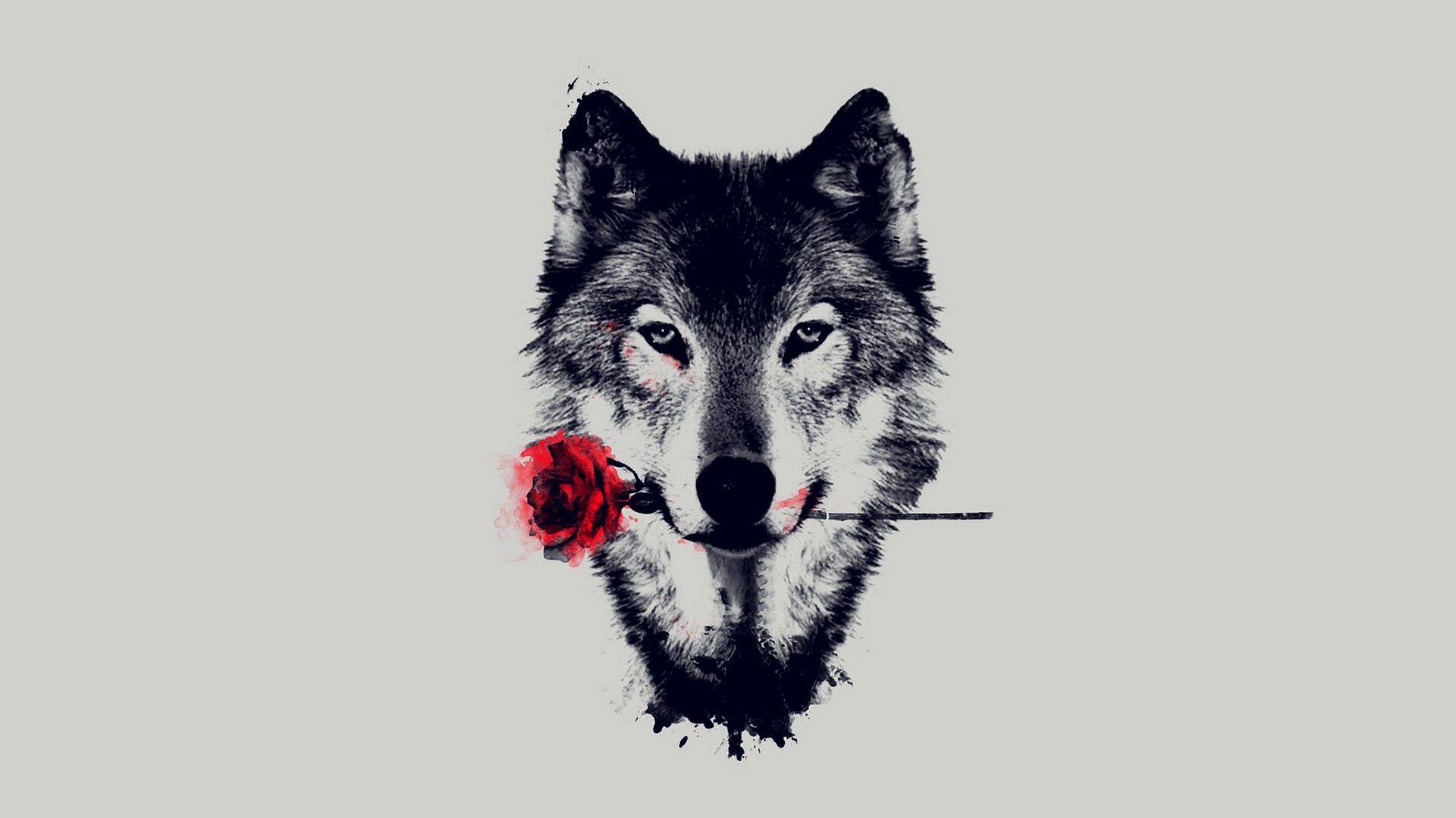Art Wolf Rose Love Https Www Facebook