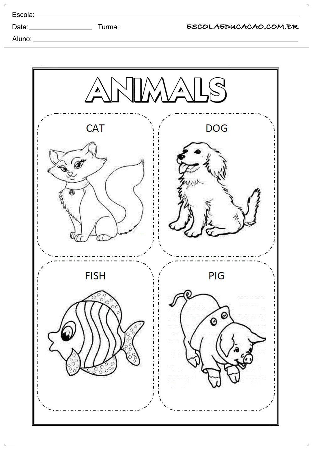 Atividades De Ingles Para Educacao Infantil Cartoes De Animais