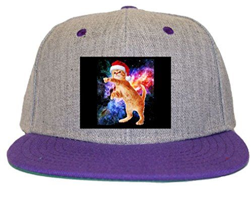 ccbef8612ba Space Christmas Cat Santa Kitty Flat Bill Snapback Hat Cap ...