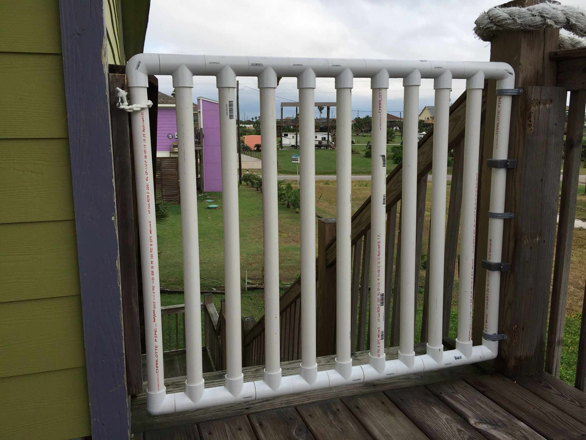 PVC gate for the deck built with my brother! Conduit straps for the ...